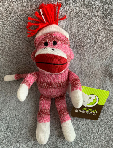 "Primary image for Circo Target Sock Monkey Pink Striped Plush Knit Animal Adventure 11"" NEW"