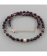 Designer Necklace- Garnet Faceted Drop Bead in Rose Gold Plated 925 Silv... - $48.99