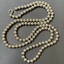 Crown Trifari Metal Ball Beaded Necklace Etched Diamond Pattern Silver Tone Vtg - $31.64