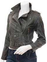QASTAN Women's New Grey Super-Soft Biker Sheep Leather Jacket QWJ17A - $149.00+