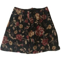 Ann Taylor Petites Sz 12P Black Flowers Skirt - $14.03