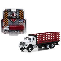2018 International WorkStar Platform Stake Truck White Cab and Red Body ... - $25.50