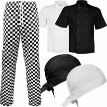 Unisex Chef Bandana Short Sleeve Work Wear Jacket Check Trouser Cooking ... - $5.15+