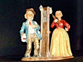 Man and Woman Figurine with God Bless Our Home AA19-1652 Vintage image 3
