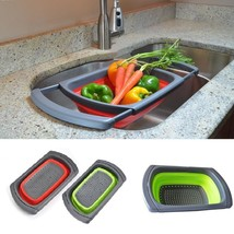 Kitchen Foldable Draining Basket Durable Fruit Vegetables Wash Sink Dryi... - $32.38