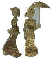Vintage HOME INTERIORS GIFT Homco Brass Wall Hangings 2 Women & Umbrella... - $24.95