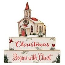 """Tabletop Christmas Wood Decorative """"Christmas Begins with Christ"""" Sitter... - $29.65"""