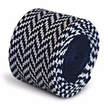 Frederick Thomas tricoté mince marine bleu et blanc en épi Cravate ft3292