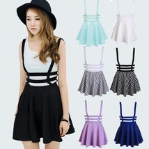 Women Sexy Pleated Suspender Skirt Braces Hollow Out Bandage Mini Skater... - $26.52