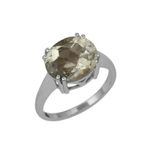 Shine Jewel 925 Sterling Silver 10 x 14 MM Oval  Green Amethyst Solitair... - $11.83