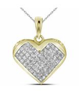 14kt Yellow Gold Womens Princess Diamond Heart Pendant 1.00 Cttw - £946.09 GBP