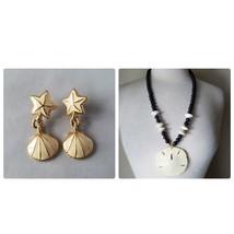 Vintage Trifari Earrings Enamel Sea Shell Beach Matching Sand Dollar Nec... - $29.75