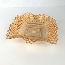 Vintage Indiana Carnival Glass Diamond Point Square Ruffled Edge Candy Dish - $14.84