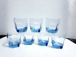 Set of 7 Libbey Light Blue Textured CHIVALRY 10 Oz Rocks Old Fashioned G... - $38.60