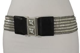 Women Elastic Clear Silver Beads Fashion Belt Fancy Hip High High Waist ... - $18.61