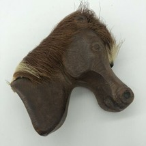 """Horse Pin Wood Hair Vintage Accessory Hand Carved Fold Art 3"""" Brown  - $16.00"""