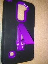 LG Stylo 3, MetroPCS - KICK+ Hybrid Two-Piece Kickstand Shield Case Black/Purple - $7.91
