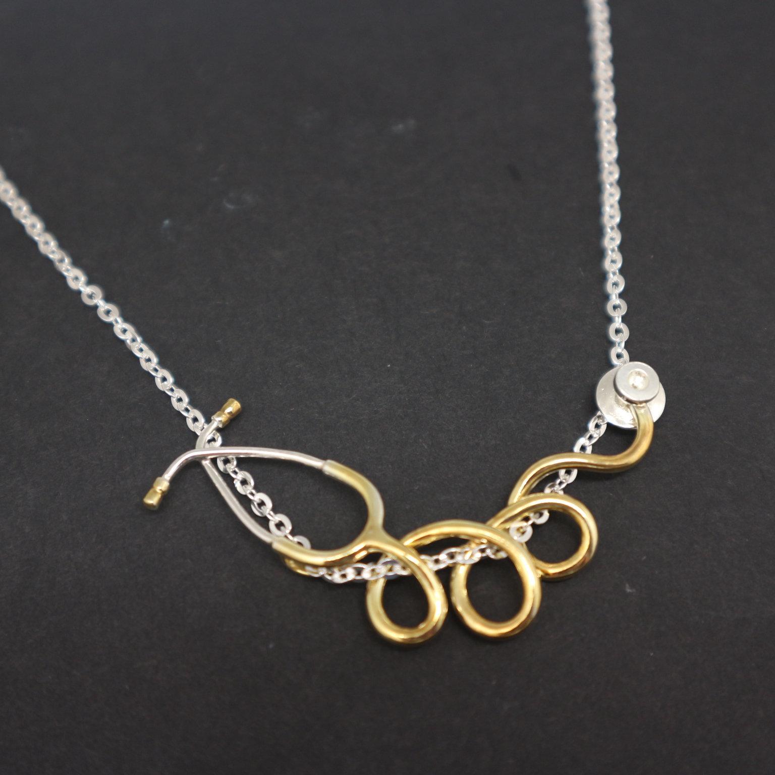 Silver Stethoscope Nurse Necklace