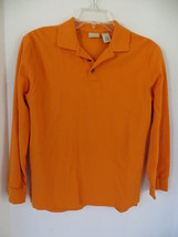 Boy's L.L. Bean Orange Long Sleeves Polo Size M - $8.59