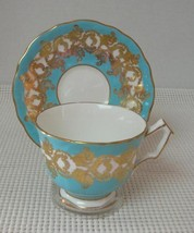 SKY BLUE BAND & GOLD Aynsley FOOTED TEA CUP & SAUCER Pat 1215 China Engl... - $29.09