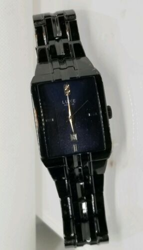 Vintage Mens Luxe Diamond / Date Dress Watch New Battery Works