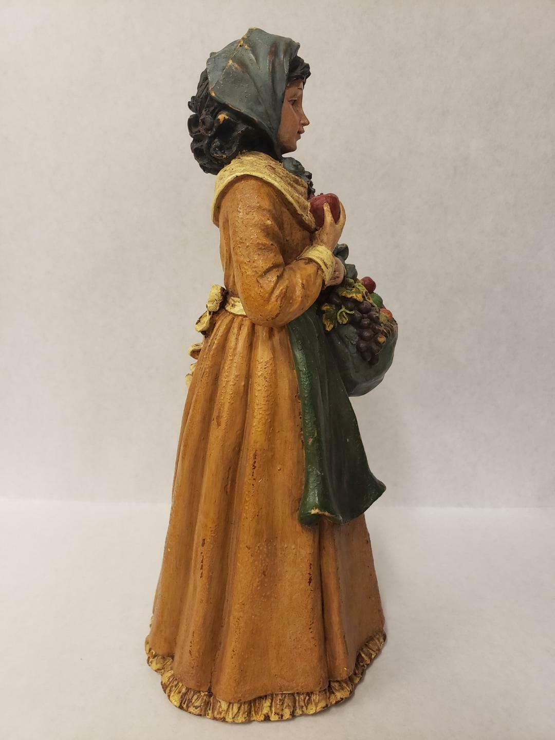 "Vintage Peasant Woman Lady Figurine Apron Fruit Bread Basket Bag Resin 12"" tall"
