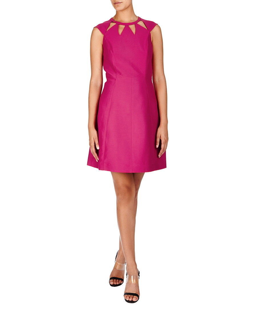 New $495 Womens Halston Heritage 6 Dress Designer Dark Pink NWT Cut Out Neck image 3