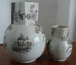 Brown Transferware Pitcher / Vase Set Of 2 Damaged - $22.34