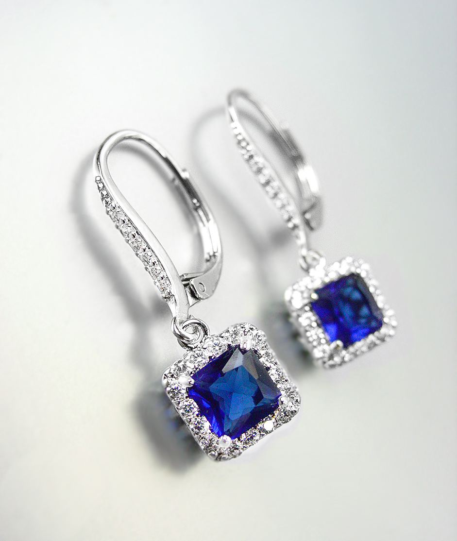 SILVER FILLED DOUBLE HOOP LEVER BACK WHITE CRYSTAL SAPPHIRE DROP EARRINGS