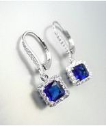 18kt White Gold Plated Sapphire Blue Baguette Crystal Petite LeverBack E... - $29.99
