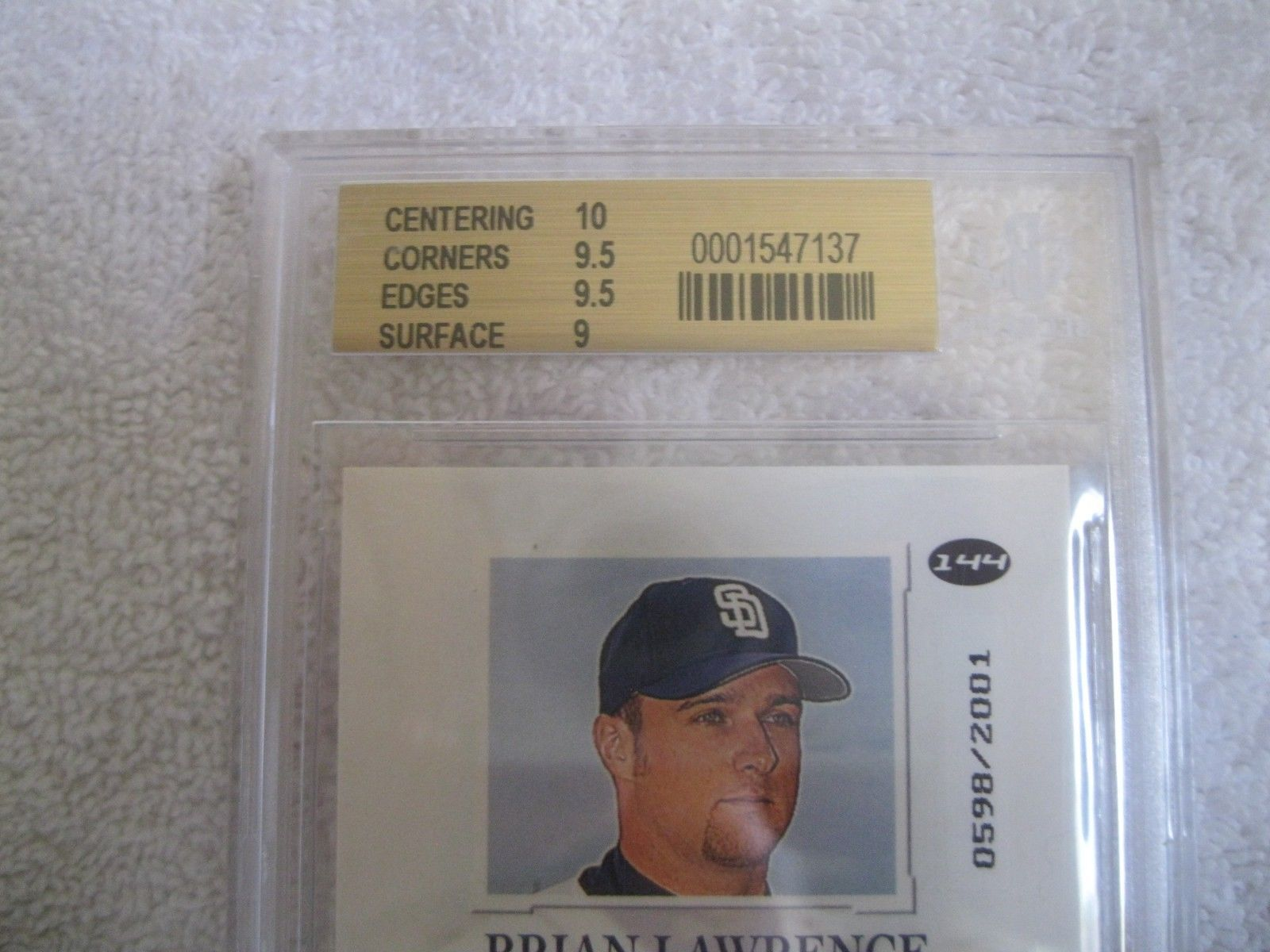 Brian Lawrence RC 2001 Fleer Rookie #598/2001 GRADED GEM MINT BGS 9.5-Padres RC image 2