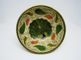 Vintage Brass Ornate Peacock Enameled Bowl on Pedestal - $12.38