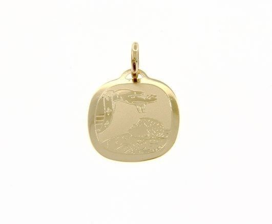 18K YELLOW GOLD PENDANT SQUARE MEDAL REMEMBRANCE BAPTISM ENGRAVABLE ITALY MADE