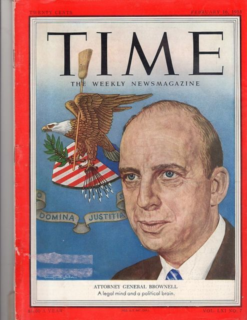 Primary image for Time Magazine 1953, February 16,  Attorney General Brownell