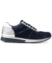 Michael Kors MK Women's Premium Allie Trainer Suede Sneakers Shoes Admiral image 2