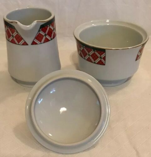 Windsor Gibson China Red Green Christmas Checked Sugar & Creamer Lot Unused image 3