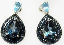 London Blue Topaz Pear, Blue Topaz & Blue Diamond Dangle Earrings, 925, 5.19(TCW - $80.99