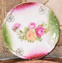 SANDWICH PLATE VINTAGE VICTORIAN CABBAGE ROSES AIRBRUSH ROUND PORCELAIN ... - $39.99