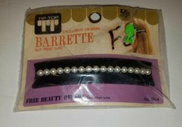 Vintage 1950's Tip Top Silver Chrome Mid-Century Modern Barrette NOS pearl - $25.00