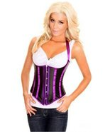 Black Satin Underbust Corset Halter with Purple... - $30.99