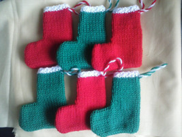 Christmas Stockings Hand Knitted /Advent Calendar 3x Red & 3x Green Free... - $9.07