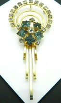 Blue Clear Rhinestone Art Deco Style Gold Tone Dangle Pendant Vintage - $19.79