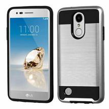 Silver/Black Brushed Hybrid Case for LG Rebel 2/Phoenix 3/Fortune - $11.07