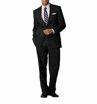 Calvin Klein Mens Mitchell Two Button Notched Wool Suit Set Black 42 36W - $133.55