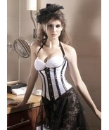 White Satin Black Stripes Underbust Corset with... - $30.99