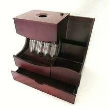 Wood Coin Sorter Desk Organizer Charging Station Cherry Finish - $34.65
