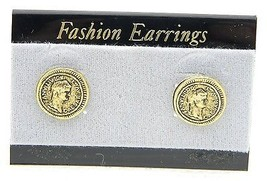 VTG Style Gold Tone Ceasar Domitianvs Post Earrings C - $9.90