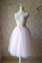 PALE PINK Midi Length Tulle Skirt Baby Shower Tulle Skirts Pink Petticoat NWT image 2