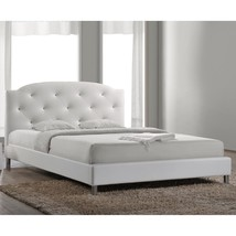 Full Queen Size White Upholstered Platform Bed Frame Faux Leather Fabric... - $340.46+