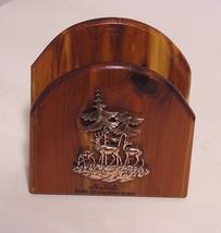 Nashville Home Of Country Music Wood Letter Postcard Holder Pine Trees Deer - $13.85